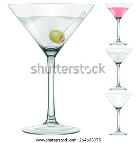 Martini glass. Three variations - with and without an olive, pink martini and empty glass. Photo-realistic EPS10 illustration. - stock vector