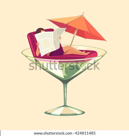 Martini glass vacation. Concept vector illustration. - stock vector