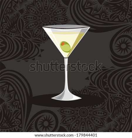 Martini glass vector illustration - stock vector