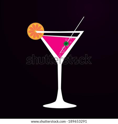 martini glass, vector illustration - stock vector