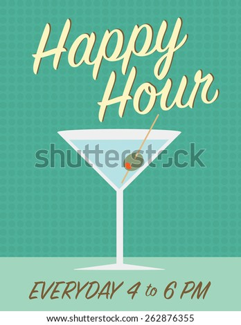Martini glass with time, over green color background - stock vector