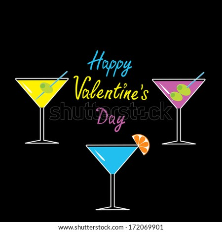Martini glasses set on black background. Happy Valentines Day card. Vector illustration