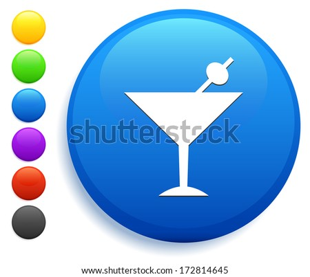 Martini Icon on Round Button Collection