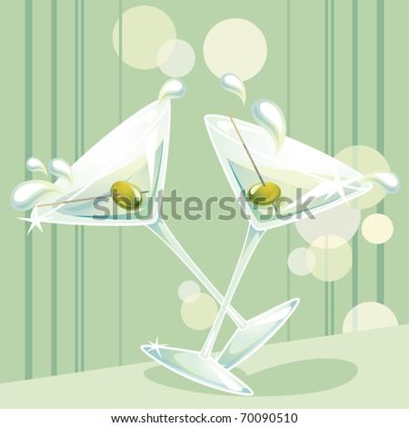 martini splash - stock vector