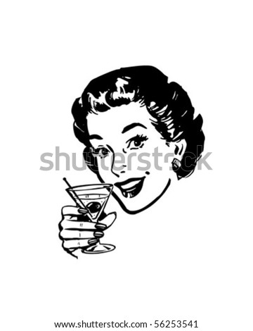 Martini Toast - Retro Clip Art - stock vector