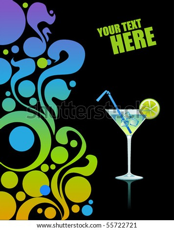 Martini with ice and lime on black background. - stock vector