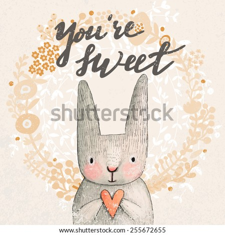 Marvelous card with sweet rabbit holding heart. Awesome background made in watercolor technique. Pastel colored easter concept card with text in vector - stock vector