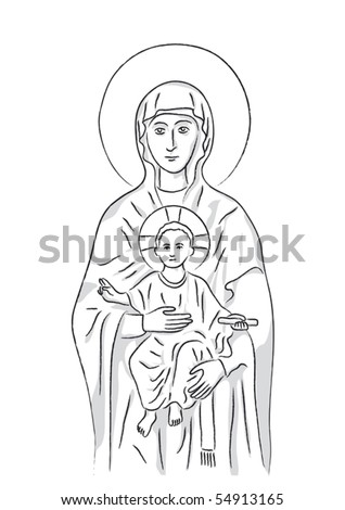 Mary and Jesus - stock vector
