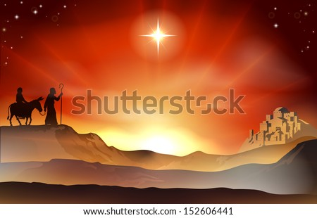 Mary and Joseph Nativity Christmas illustration with Mary and Joseph journeying through the dessert with a donkey and the city of Bethlehem in the background. - stock vector