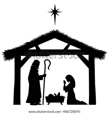 Beautiful Nativity Silhouette Vectors