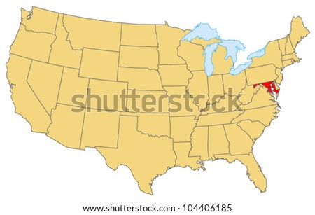 Maryland Locate Map - stock vector