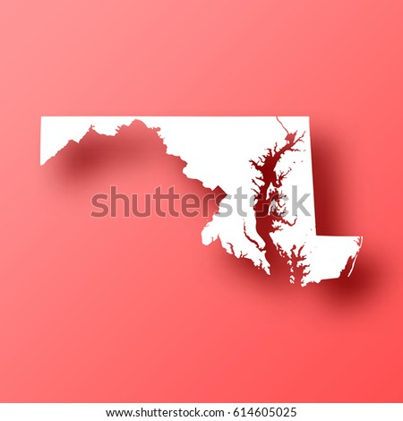 Maryland Map Isolated On Red Background Stock Vector 614605025