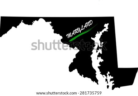 Maryland map vector in black and white background, Maryland map outlines in a new design - stock vector