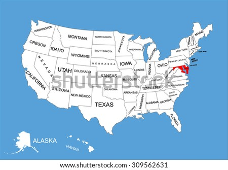 Maryland State Usa Vector Map Isolated Stock Vector - Us map maryland state