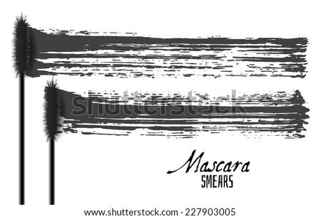 Mascara brush strokes, beauty makeup vector - stock vector