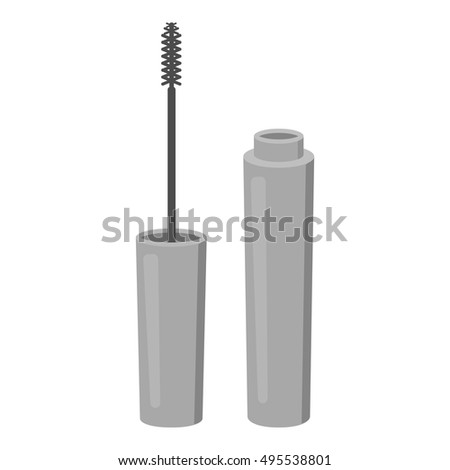 Mascara icon in monochrome style isolated on white background. Make up symbol stock vector illustration.