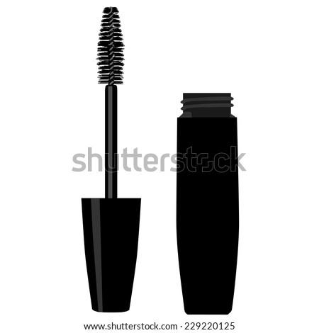 Mascara, mascara brush, mascara vector, kong lashes, eyes mascara - stock vector
