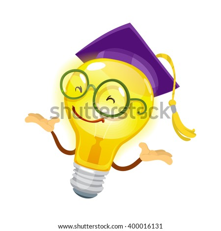 Mascot cartoon character cheerful bulb in glasses and hat university graduate on white background - stock vector