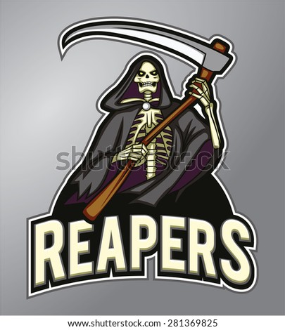 Mascot Grim Reaper - stock vector