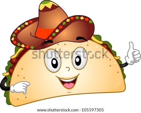 Mascot Illustration Featuring a Taco - stock vector