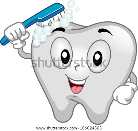 Mascot Illustration Featuring a Tooth Brushing Itself