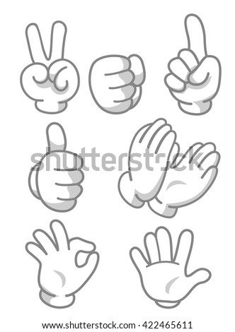 Mascot Illustration Featuring Different Hand Gestures