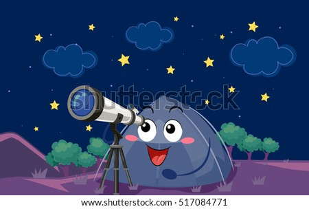 Mascot Illustration of a Camping Tent Observing Heavenly Bodies Using a Long Range Telescope