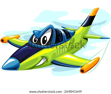 Mascot Illustration of a Fierce Jet Fighter Preparing to Attack - stock vector