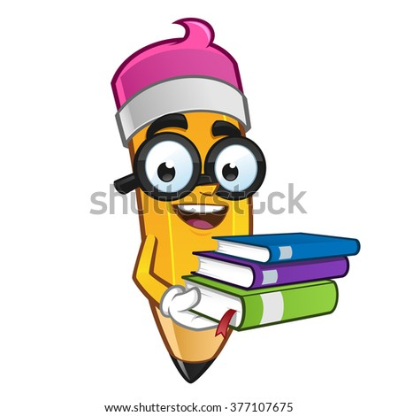 Mascot Illustration of a Pencil carrying some books - stock vector