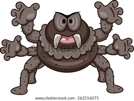 Mascot Illustration of a Spider with Its Tentacles Spread Wide - stock vector