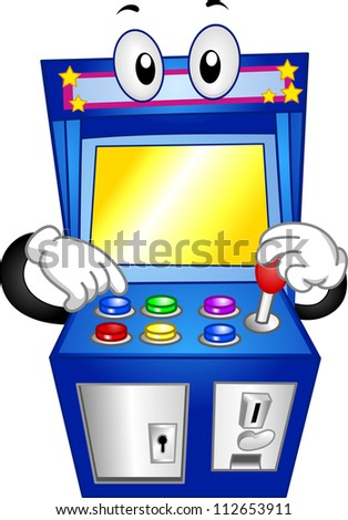 Mascot Illustration of an Arcade Game Pushing its Buttons - stock vector