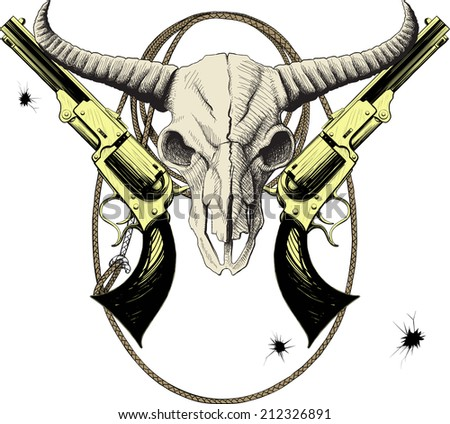 Mascot of the Wild West with bison skull with revolvers and lasso - stock vector