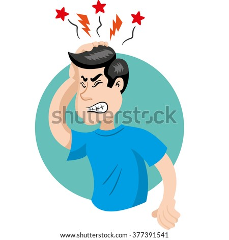 Mascot person man with headache symptoms. Ideal for informational and institutional related to medicine - stock vector
