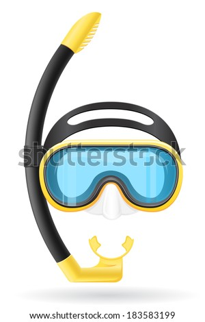 mask and tube for diving vector illustration isolated on white background - stock vector