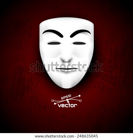 Mask anonymous on red - stock vector