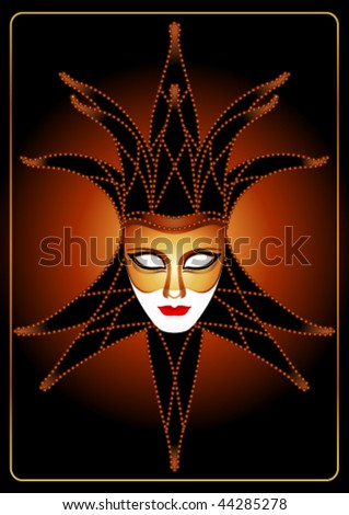 mask in a cap on a black background - stock vector