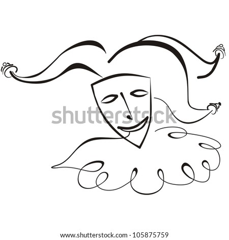 mask in jester hat - stock vector