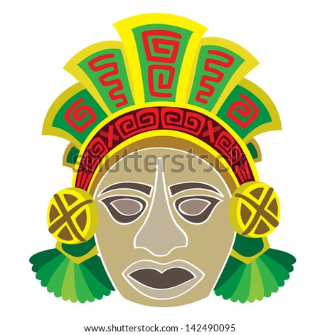 Mask in style of the Maya. Head of the person. - stock vector