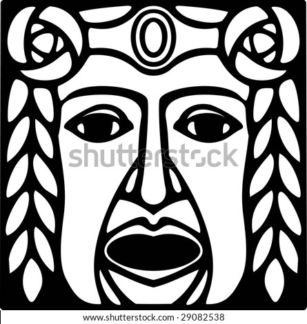 Mask of the Greek theatrical tragedy - stock vector