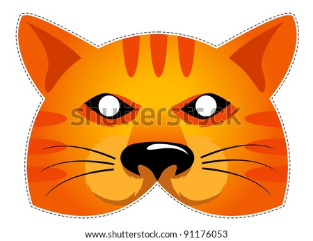 mask of the red cat, Be a cat at a party - stock vector
