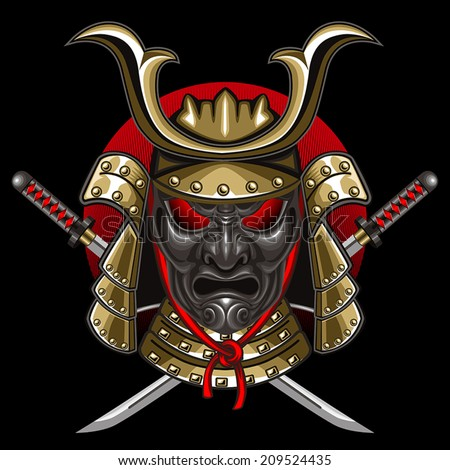 mask samurai with katana - stock vector