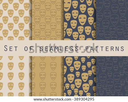 Mask with a smile seamless pattern. A set of patterns to the first on April Fools' Day. Vector illustration. - stock vector