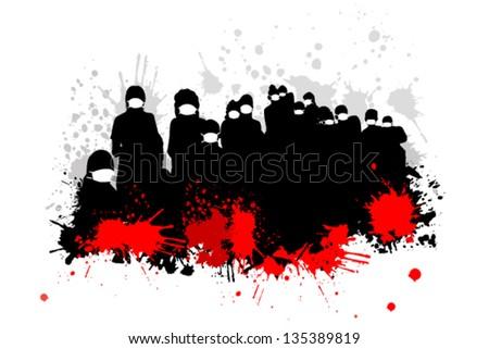 masked men. virus - stock vector