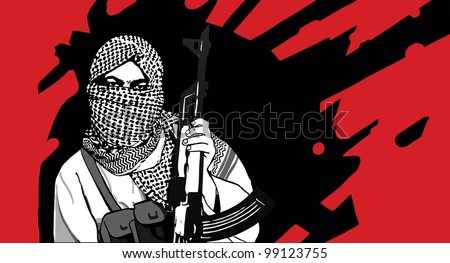 Masked terrorist with AK-47 rifle - stock vector