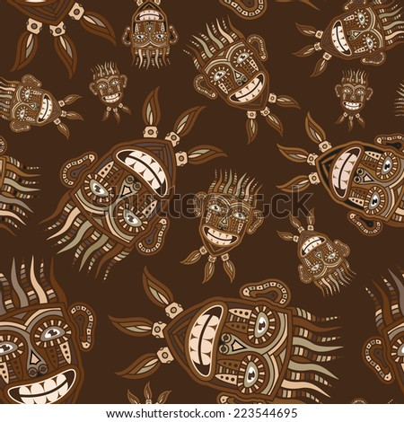 Masks natives in brown tones - seamless pattern. - stock vector