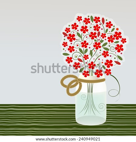 Mason Jar with bouquet of flowers  - stock vector