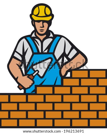 mason with brick and trowel in hand (construction mason worker installing brick with trowel, bricklayer holding a trowel working on brick wall)   - stock vector