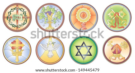 Masonic and Christian symbols in vector format for stained leaded vintage windows - stock vector