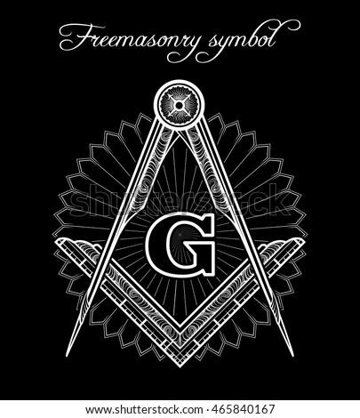 Masonic Symbol Mystical Illuminati Brotherhood Vector Stockvector