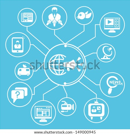 mass communication network, mind mapping, info graphic, blue